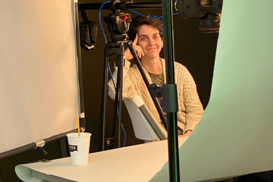 Candid photo of Salt Paper Studio Manager Alexis Howard during a photo shoot