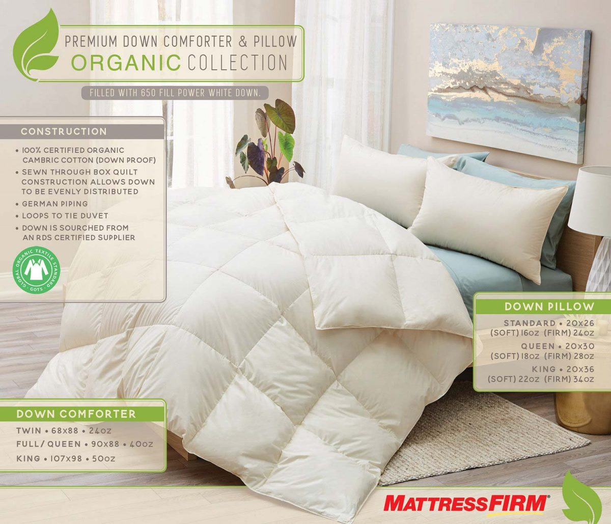 Mattress Firm Organic Collection Tear Sheet by Salt Paper Studio of Charlotte, NC