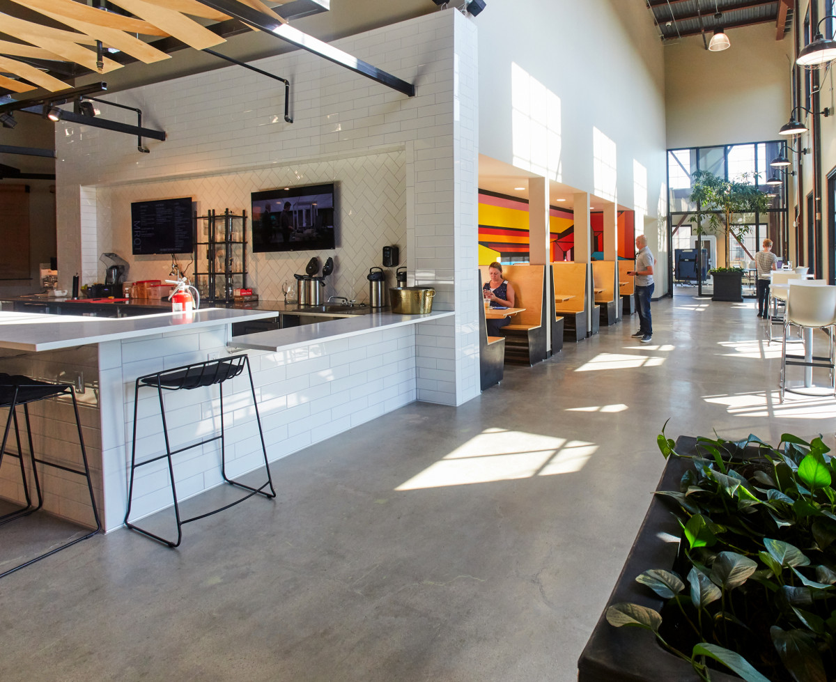 Interior photography of the common area at Rino Station in Denver, CO