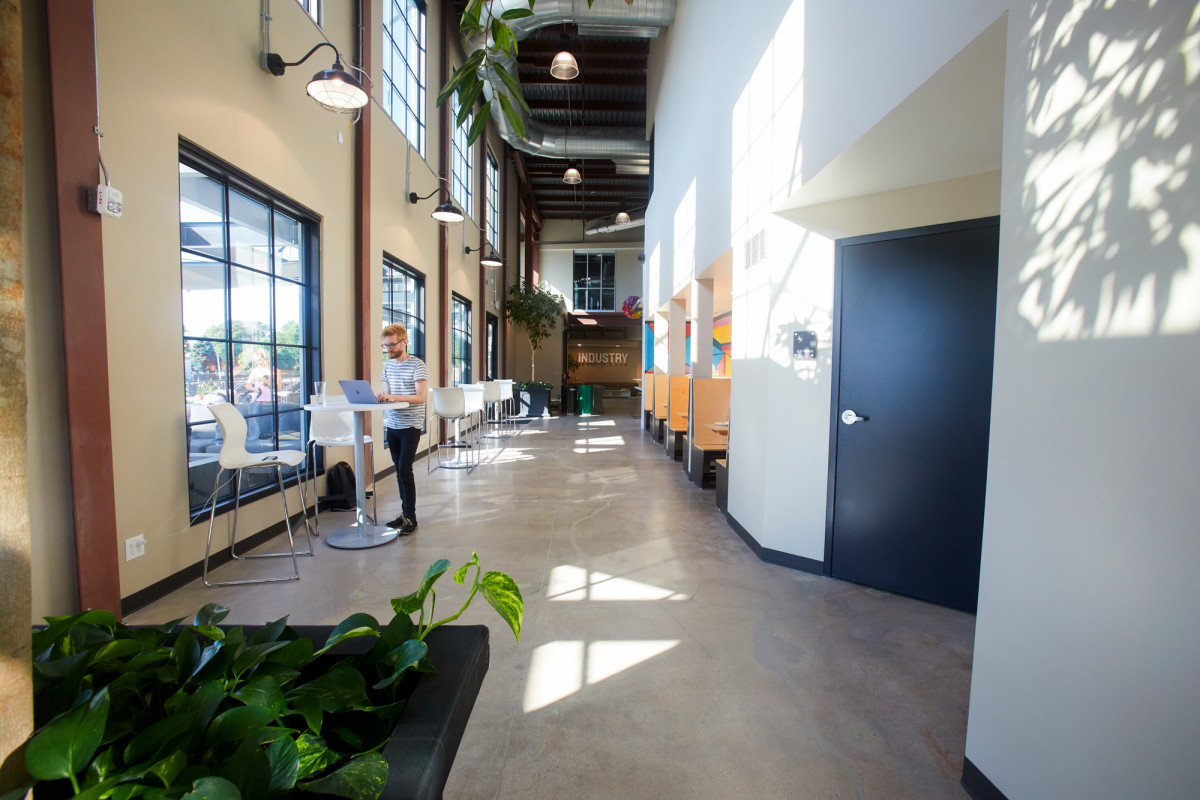 Interior photo of one of the common areas at Rino Station in Denver, CO