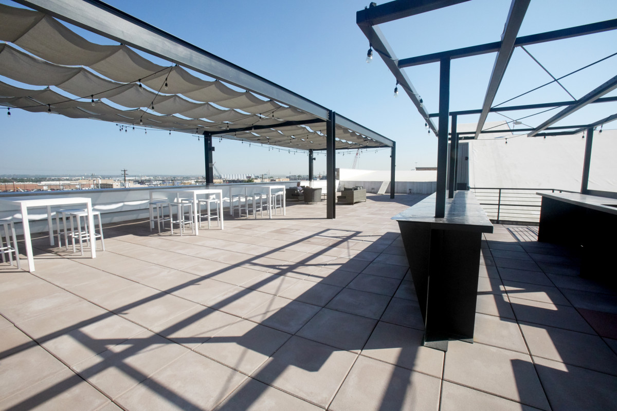 Rooftop seating area at Rino Station in Denver, CO