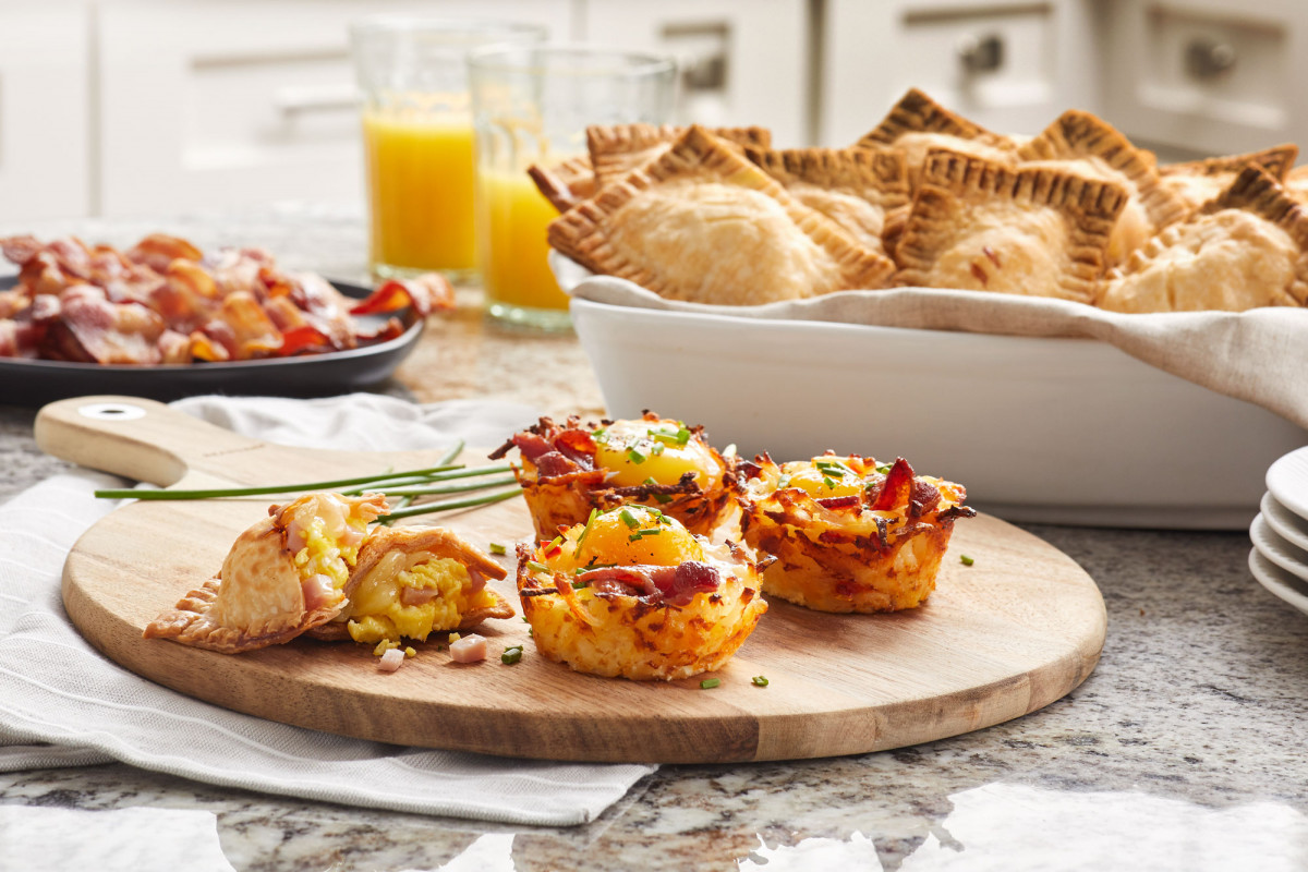 Commercial photography of various breakfast items on kitchen countertop