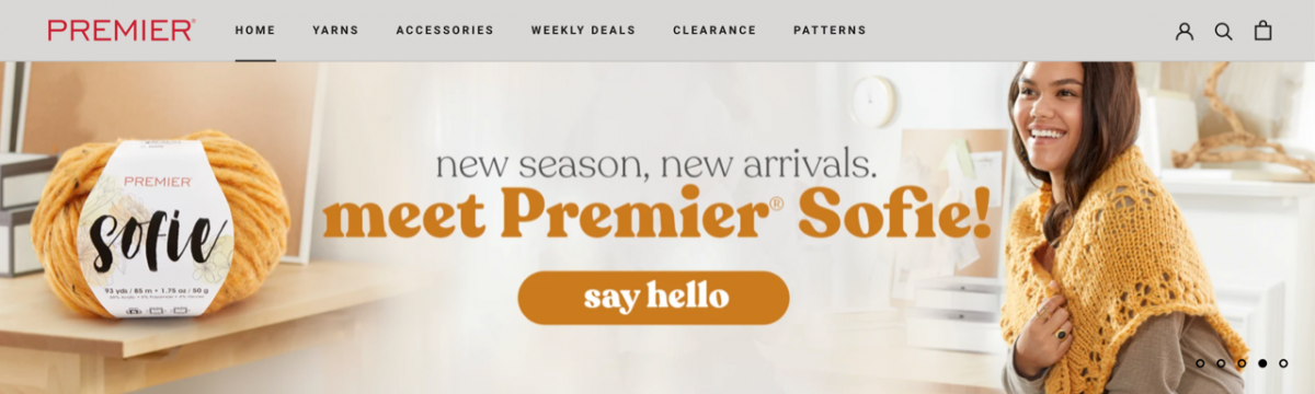 Premier Yarn digital tear sheet featuring Premier Sofie line of yarn