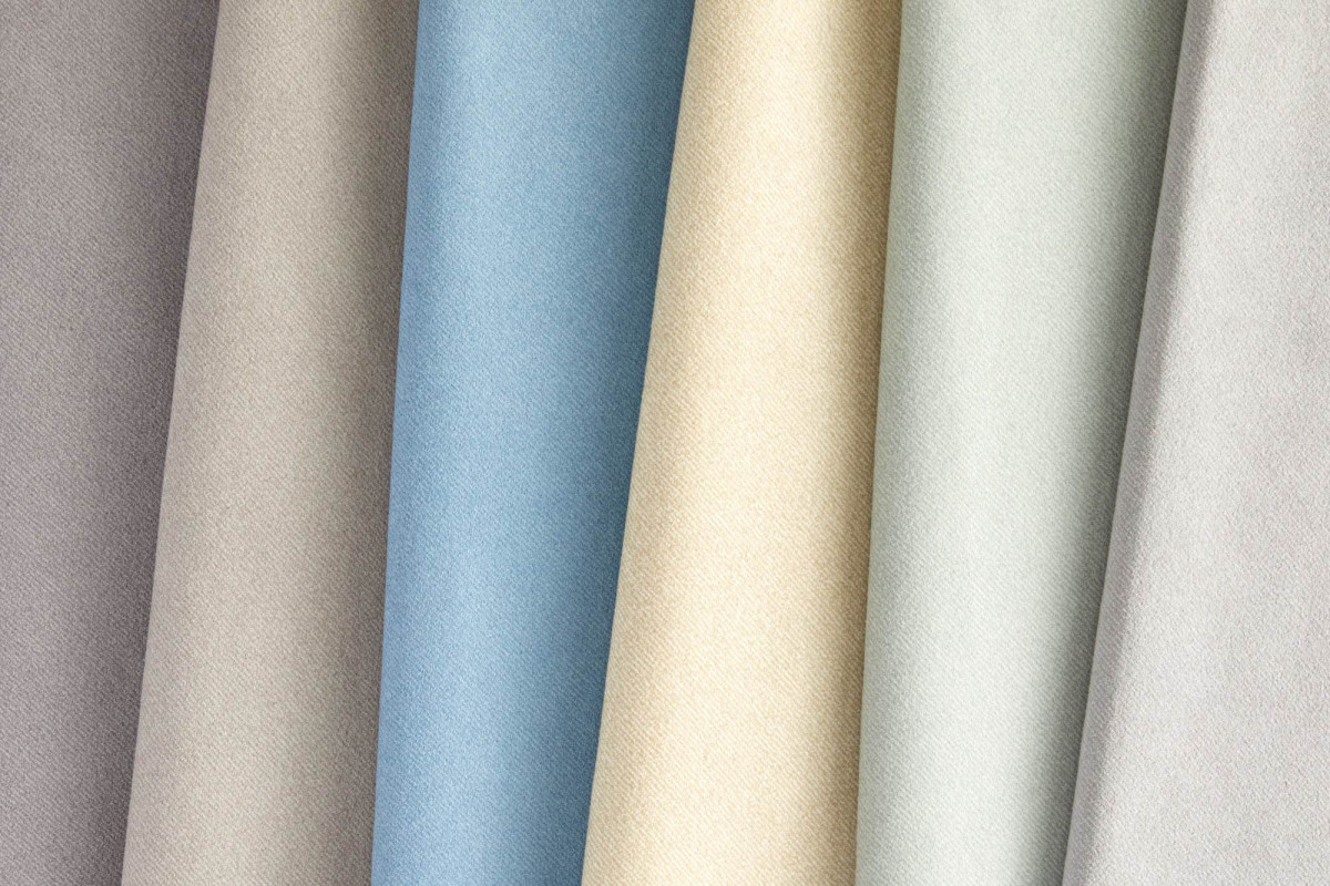 Product photography of assorted fabric in varying colors