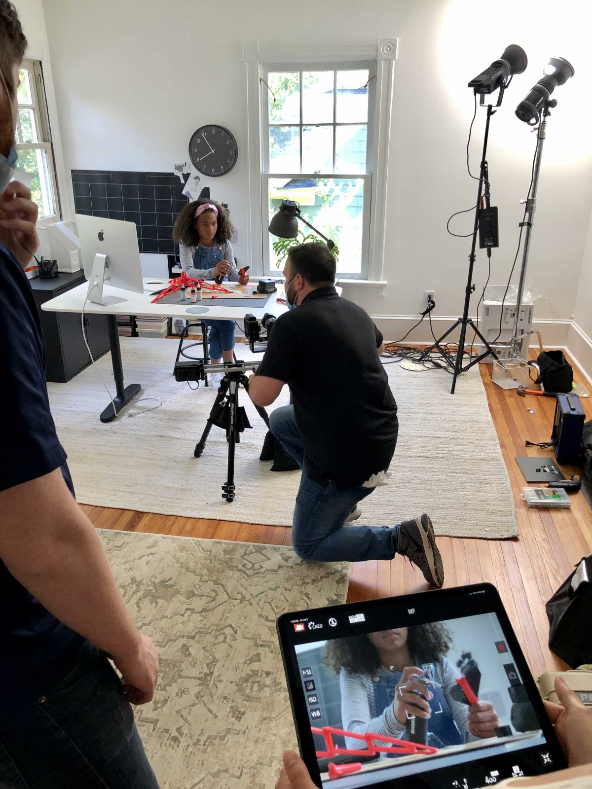 Salt Paper Studio commercial photography production crew working on a lifestyle product photography shoot for WORX tools