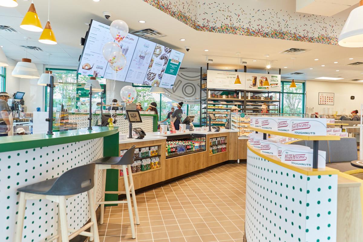 Interior photography of Krispy Kreme store
