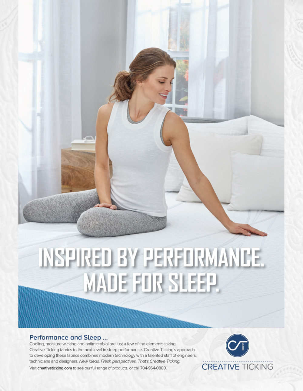 Creative Ticking Performance Bedding Tear Sheet by Salt Paper Studio of Charlotte, NC