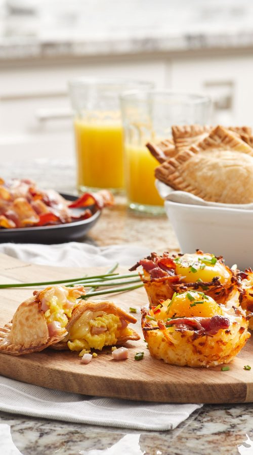 Commercial food photography of Smithfield breakfast items on kitchen counter
