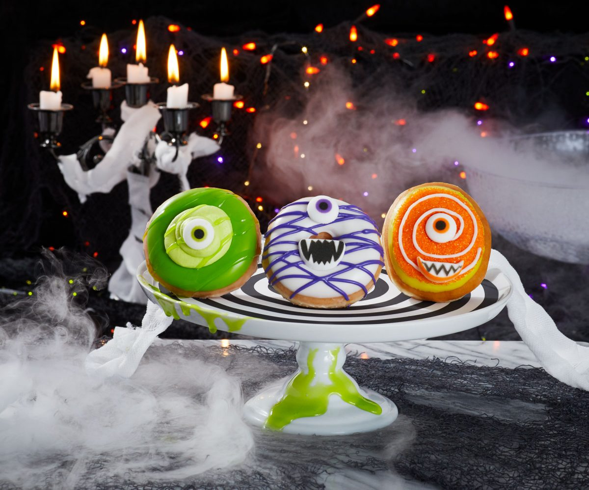 Commercial food product photography of Halloween themed Krispy Kreme doughnuts