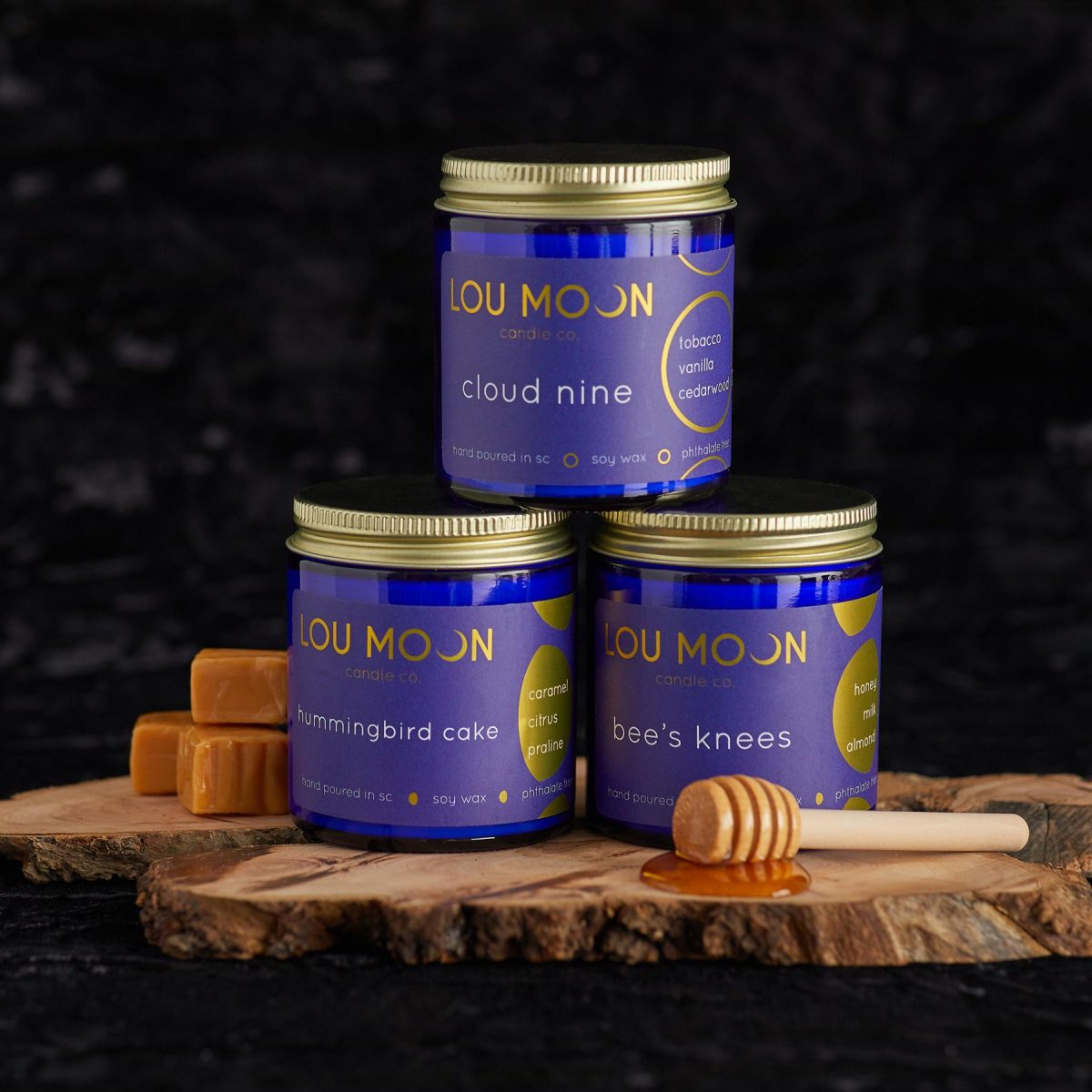 Product photography of Lou Moon candles