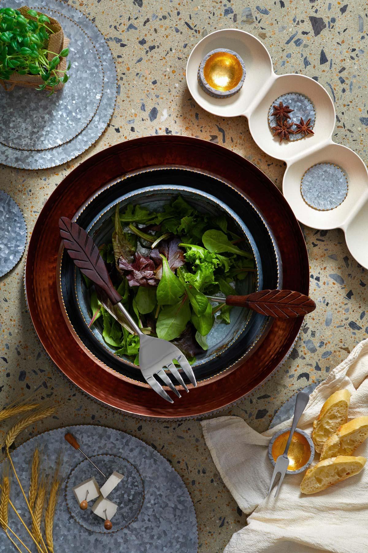 Lifestyle product photography of artisan dinnerware set