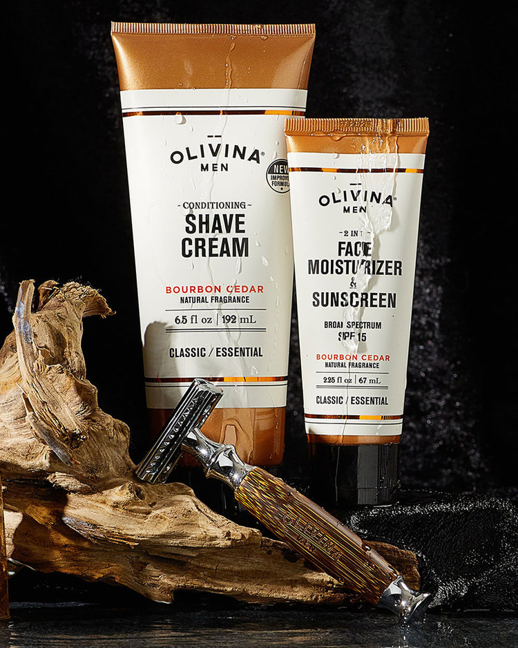 Product photography of various Olivina personal care products for men