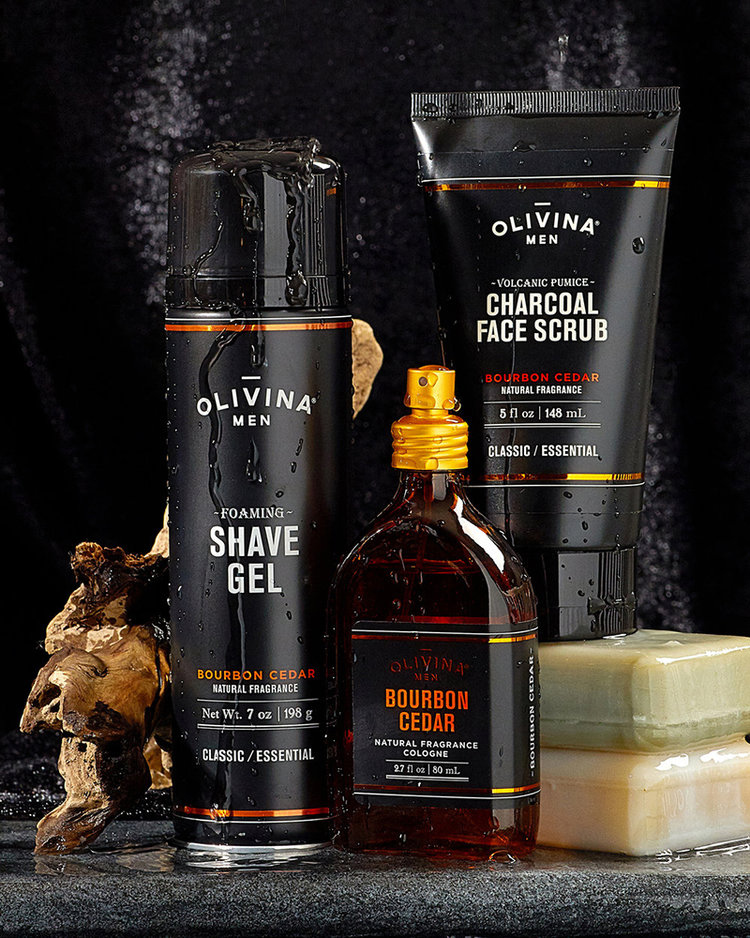 Product photography of men's personal care items by Olivina