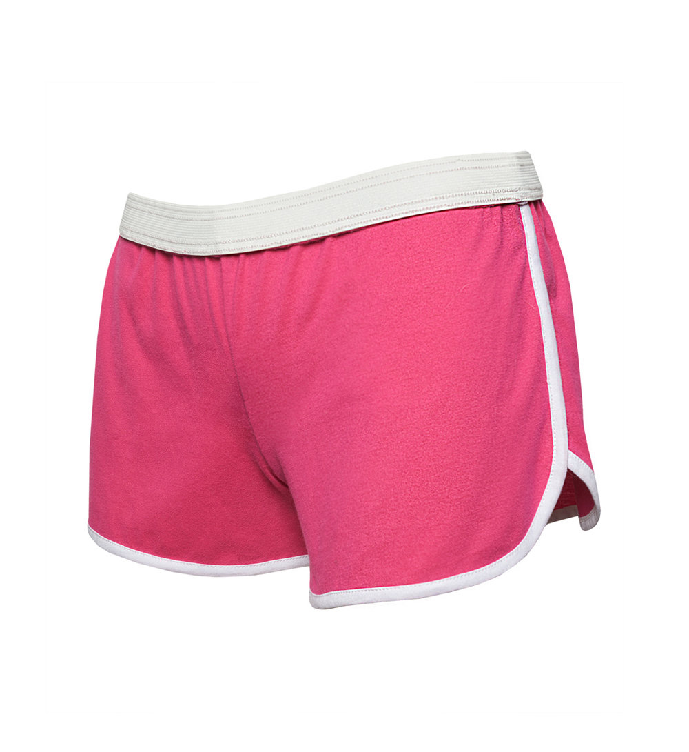 E-commerce product photography of women's pink sport shorts