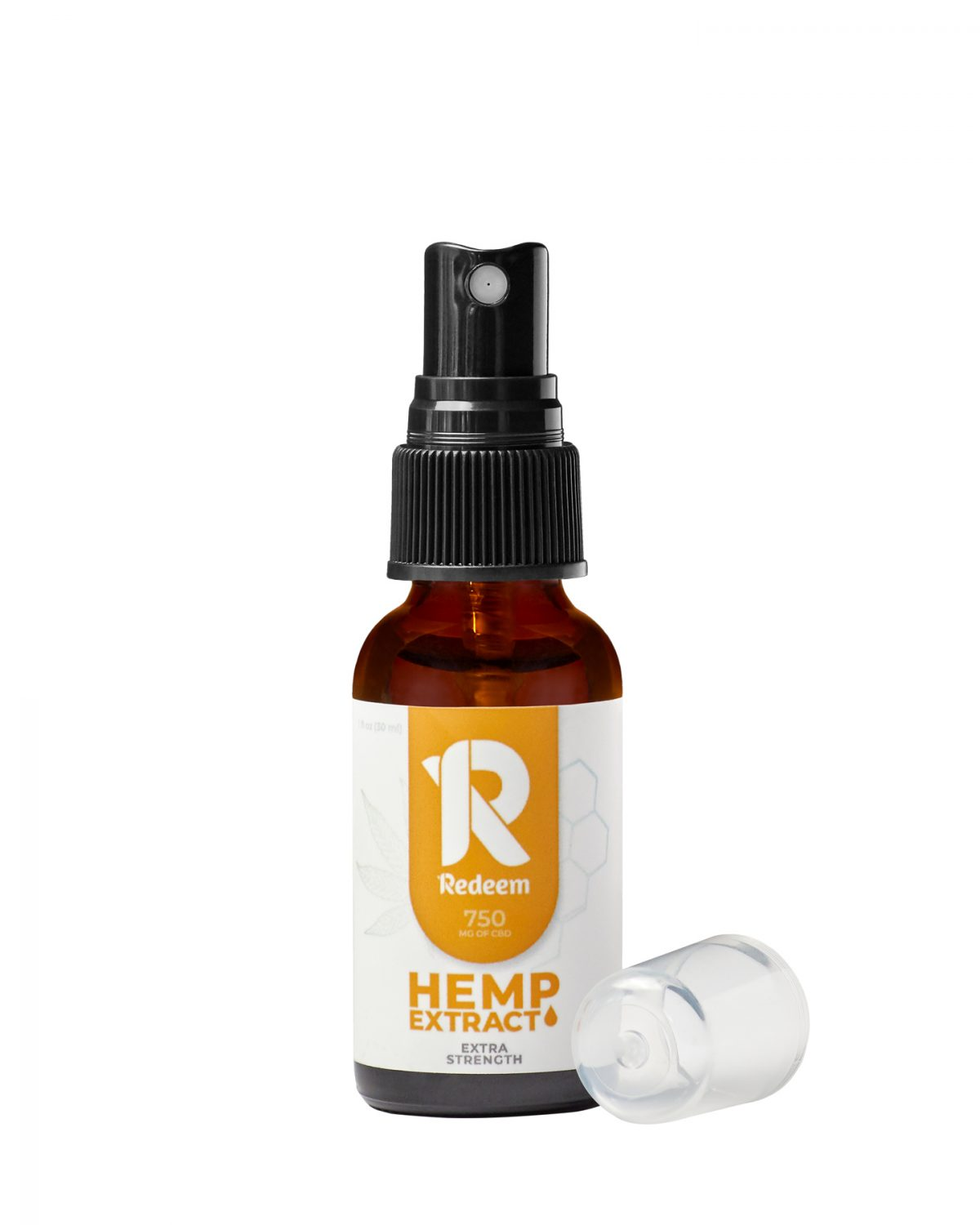 E-commerce product photography of a spray bottle of Redeem Therapeutics hemp extract