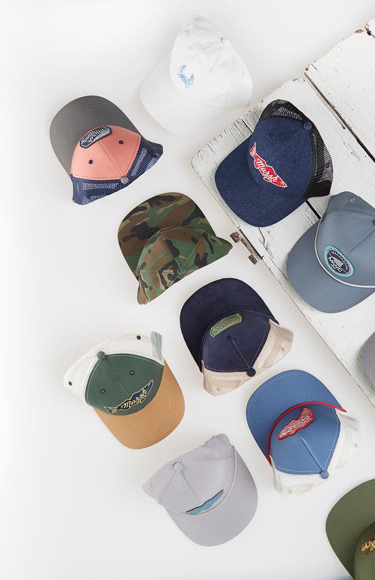 E-commerce photography of baseball caps